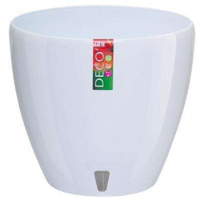 DECO 8.8 in. White Plastic Self Watering Planter