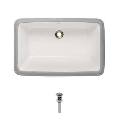Undermount Porcelain Bathroom Sink in Bisque with Pop-Up Drain in Chrome