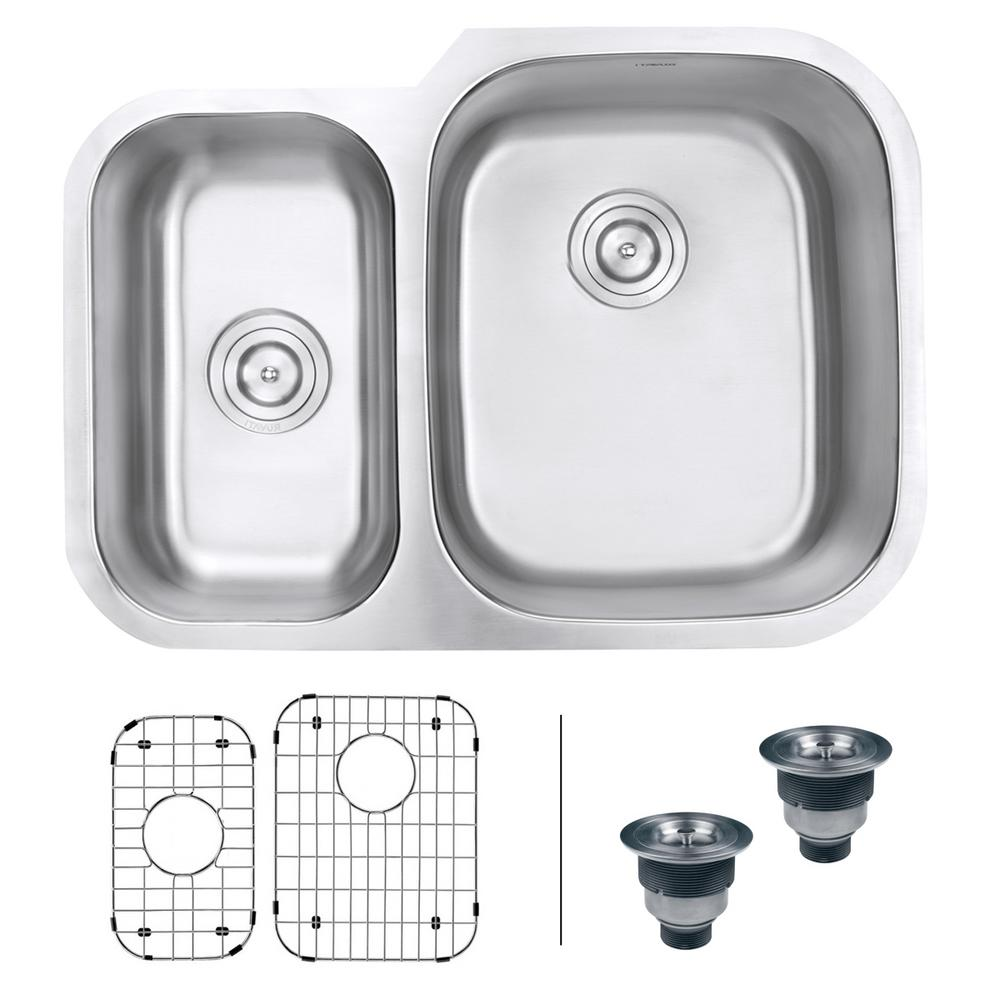 Ruvati 29 in. 40/60 Undermount 16-Gauge Stainless Steel Double Bowl Kitchen Sink - Right Configuration, Brushed Stainless Steel With the beauty and functionality of large, deep bowls and classic rounded corners, the Parmi series will complement any kitchen. The gently curved corners ensure perfect water drainage and makes it easy to keep the sink clean. The commercial grade brushed stainless finish hides scratches and blemishes and matches well with your other kitchen appliances. Color: Brushed Stainless Steel.