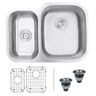 29 in. 40/60 Undermount 16-Gauge Stainless Steel Double Bowl Kitchen Sink - Right Configuration