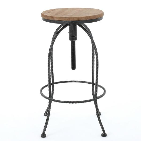 Aleena 28.25 in. Black and Off White Firwood Iron Bar Stool