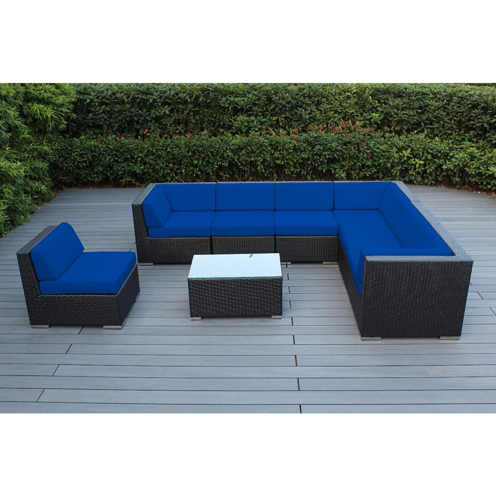 Ohana Black 8-Piece Wicker Patio Seating Set with Spuncrylic Blue Cushions