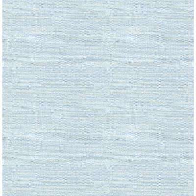 56.4 sq. ft. Agave Sky Blue Faux Grasscloth Wallpaper