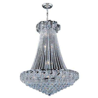 Empire Collection 18-Light Polished Chrome and Crystal Chandelier