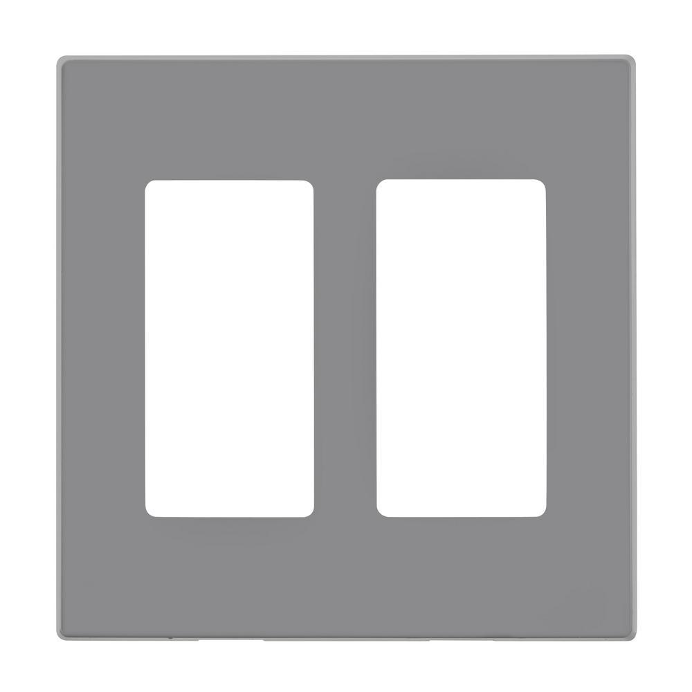 Leviton 2 Gang Decora Plus Wallplate Screwless Snap On
