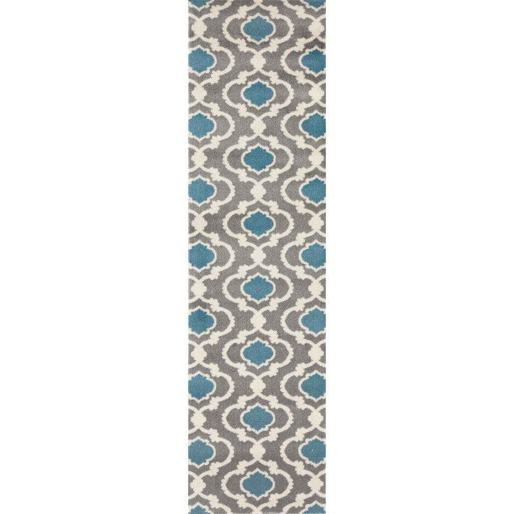Moroccan Trellis Contemporary Gray/Blue 2 ft. x 7 ft. 2 in.