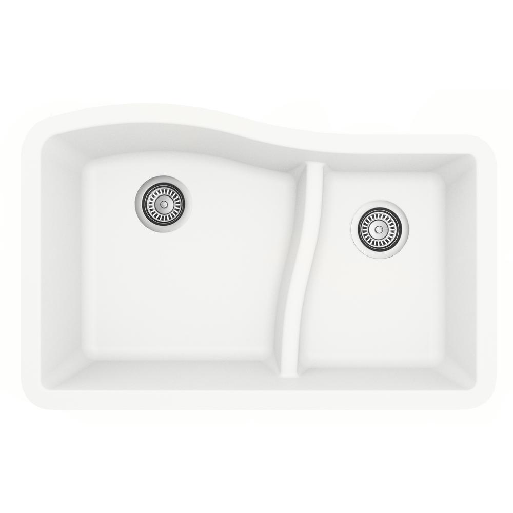 Undermount Quartz Composite 32 in. 60/40 Double Bowl Kitchen Sink in White