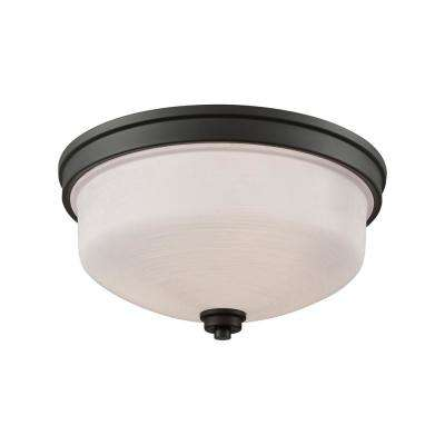 Casual Mission 3-Light Oil Rubbed Bronze With White Lined Glass Flushmount