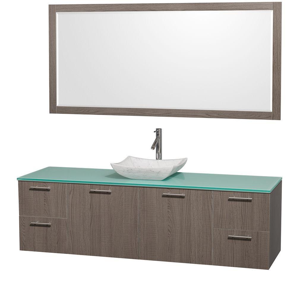 Amare 72 in. Vanity in Grey Oak with Glass Vanity Top in Aqua and Carrara Marble Sink