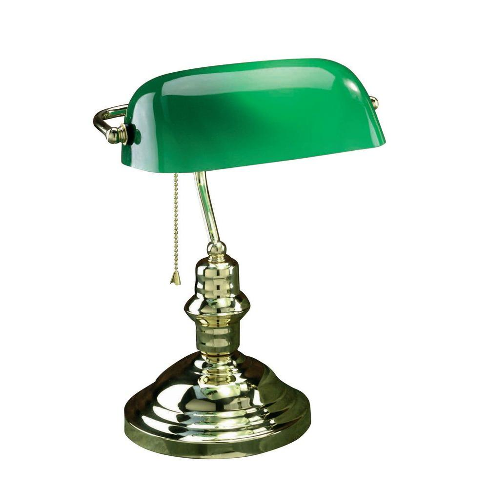 Illumine designer collection 145 in steel desk lamp with green illumine designer collection 145 in steel desk lamp with green glass shade aloadofball