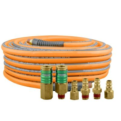 3/8 in. x 65 ft. PU Hybrid High Flow Air Hose Kit with 6 Brass Fittings
