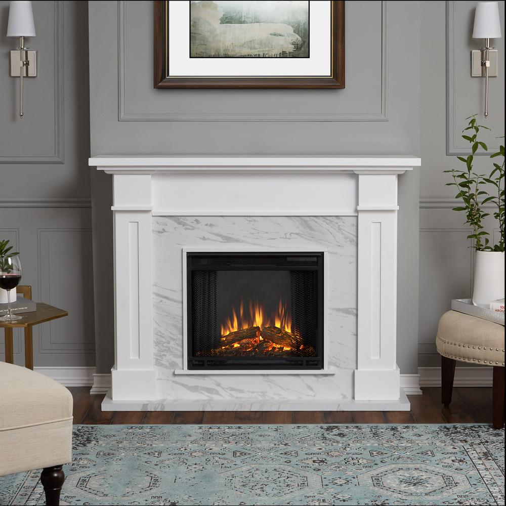Pleasing Real Flame Kipling 54 In Freestanding Electric Fireplace In White With Faux Marble Interior Design Ideas Tzicisoteloinfo