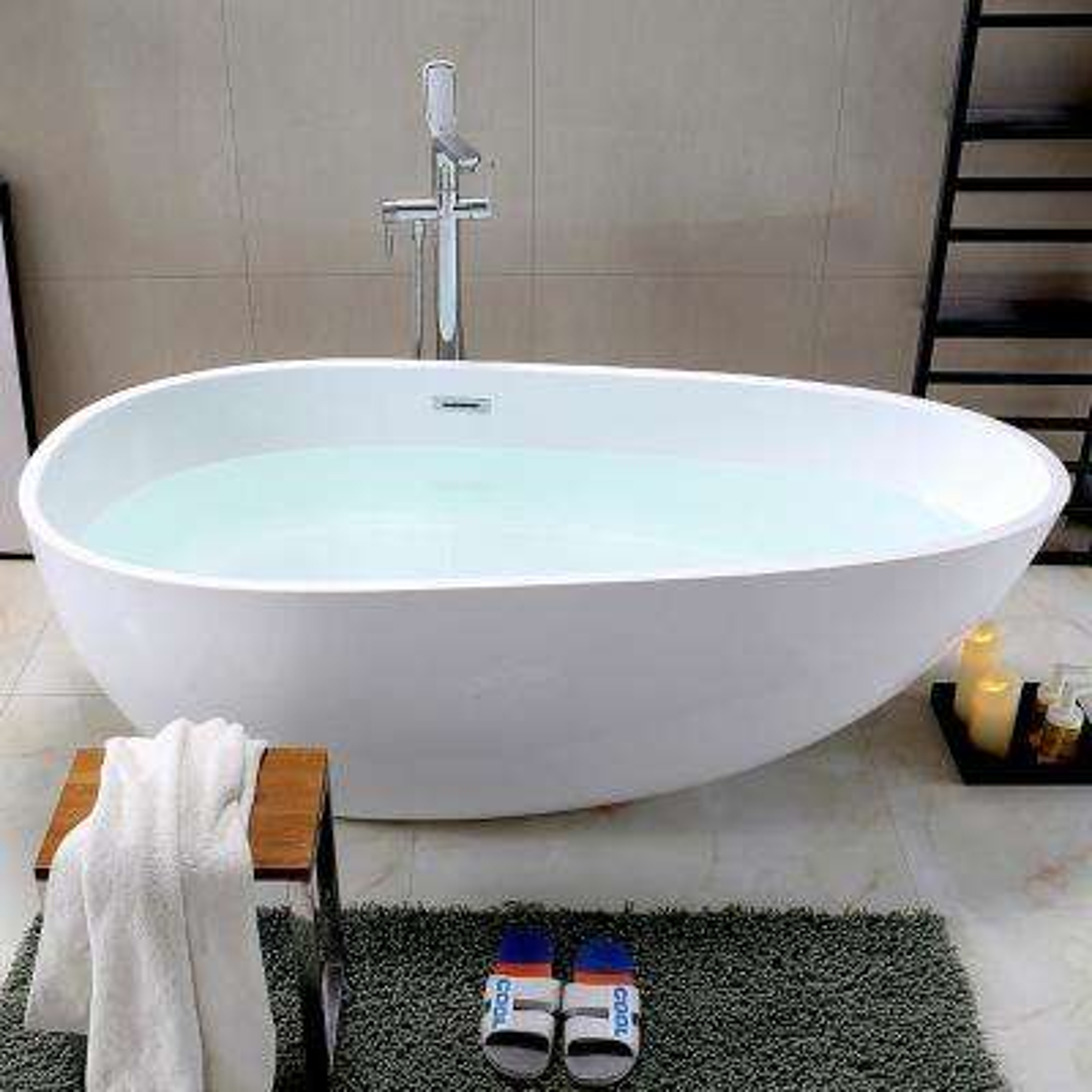 Bayonne 59 in. Acrylic Flatbottom Freestanding Bathtub in White