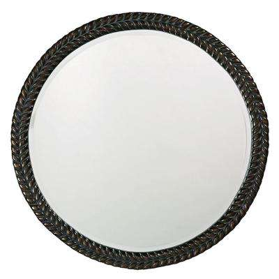 32 in. x 32 in. Round Framed Mirror In Antique Black with Bronze