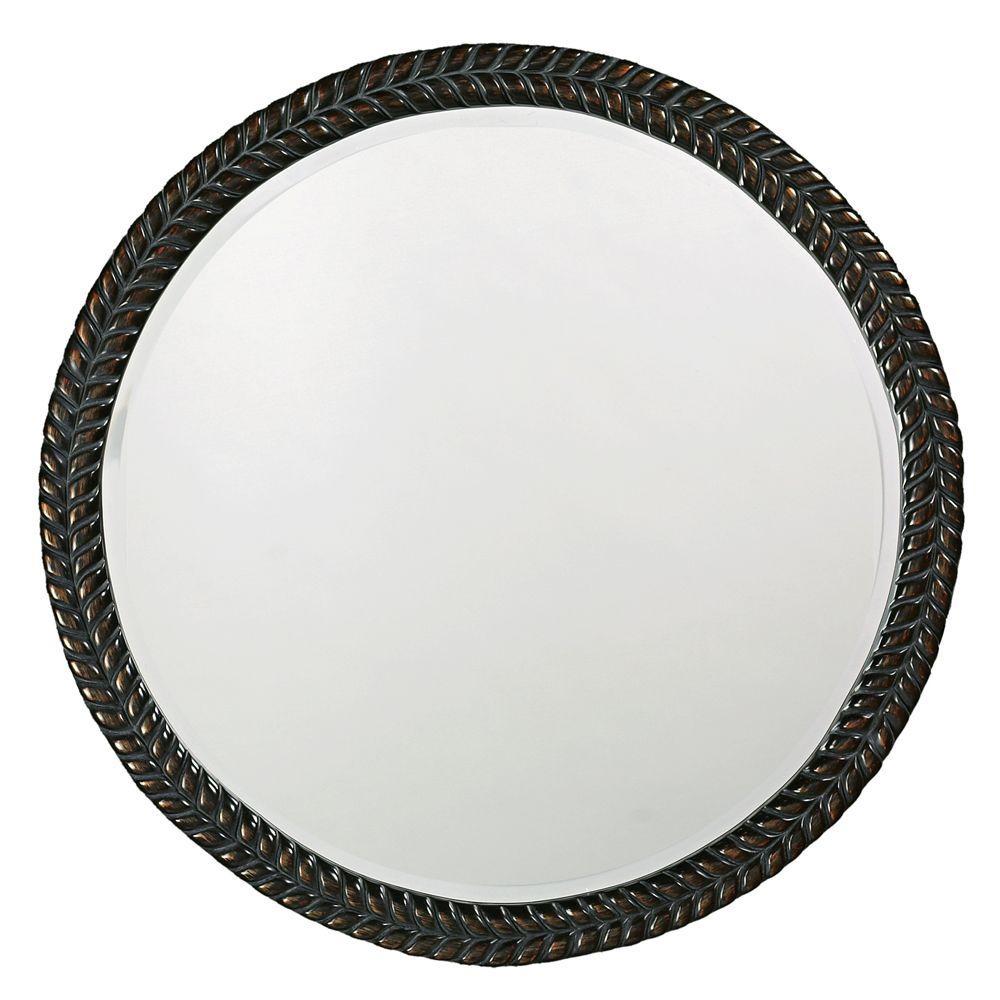 32 in. x 32 in. Round Framed Mirror In Antique Black with Bronze