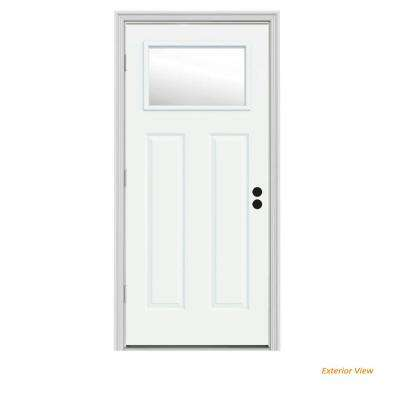 32 in. x 80 in. 1 Lite Craftsman White Painted Steel Prehung Right-Hand Outswing Front Door w/Brickmould