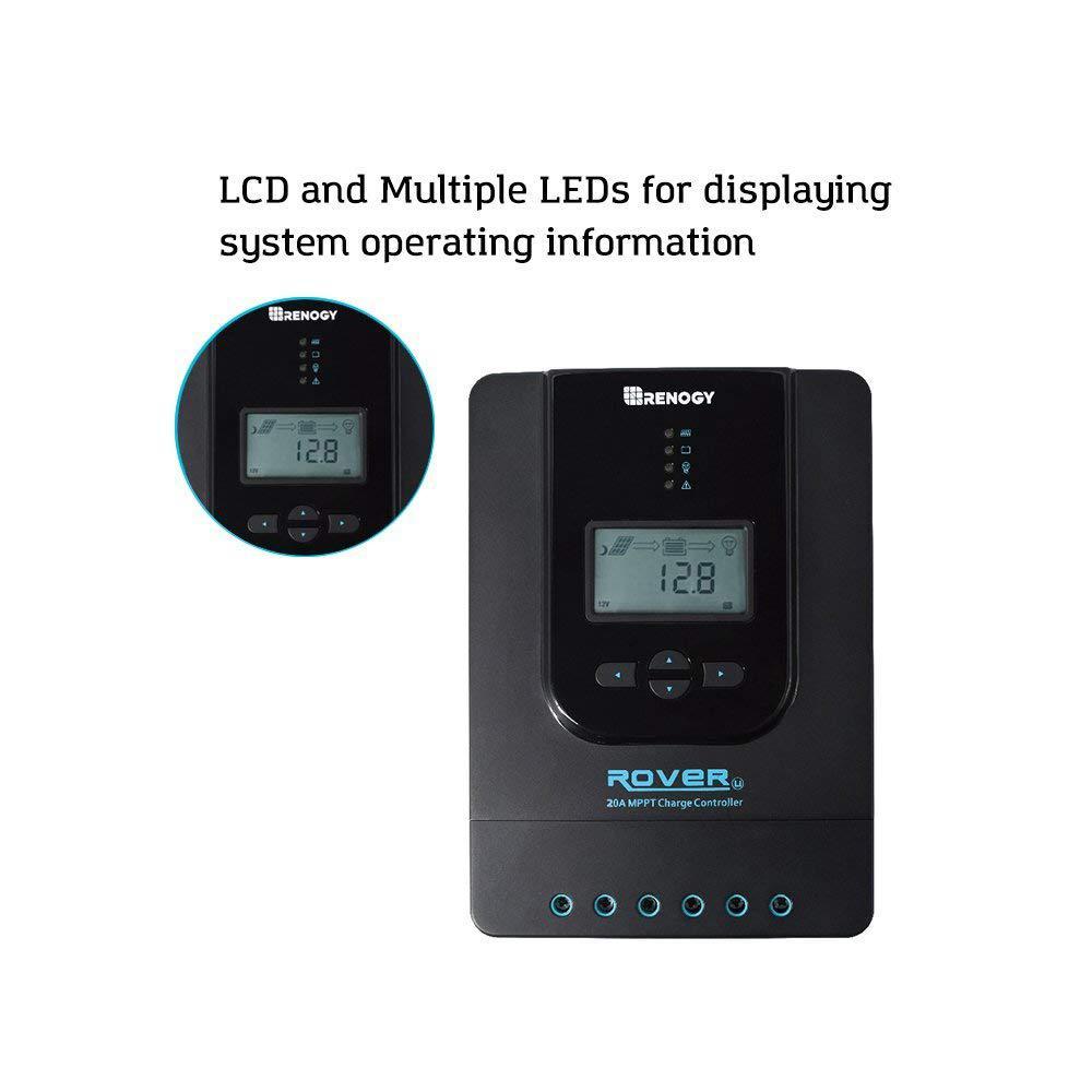 Renogy Rover 20 Amp 12V/24V DC Input MPPT Solar Charge Controller Auto  Parameter Adjustable LCD Display