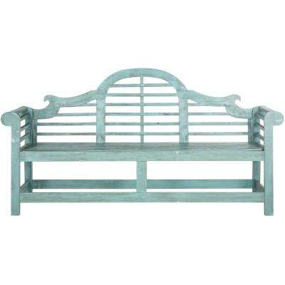 Khara 2-Person Beach House Blue Wood Outdoor Bench