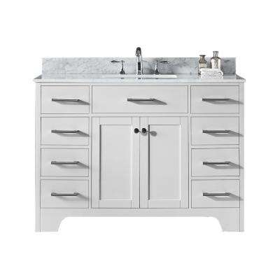 Clariette 48 in. W x 22 in. D x 34.21 in. H Bath Vanity in White with Marble Vanity Top in White with White Basin