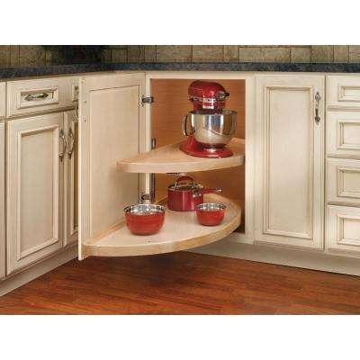 18 in. H x 11.12 in. W x 32 in. D Wood 2-Shelf Half Moon Lazy Susan Set
