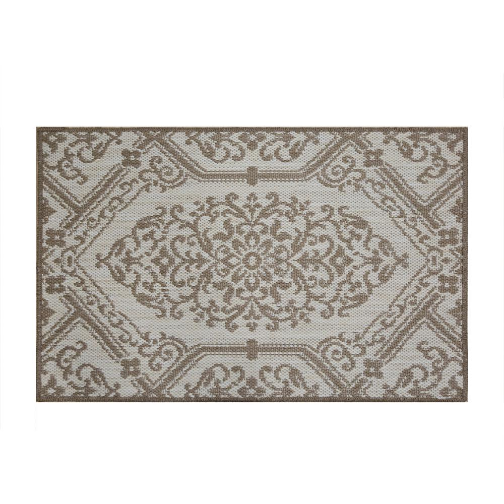 Cafe Jardin Decorative Mat: Home Dynamix Cafe Jardin Beige/Brown 23.6 In. X 35.4 In