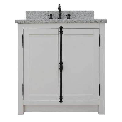Plantation 31 in. W x 22 in. D Bath Vanity in White with Granite Vanity Top in Gray with White Oval Basin