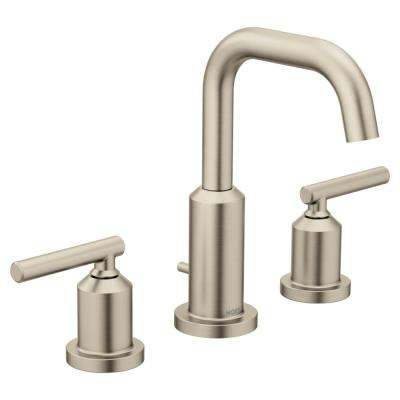Gibson 8 in. Widespread 2-Handle High-Arc Bathroom Faucet in Brushed Nickel (Valve Not Included)