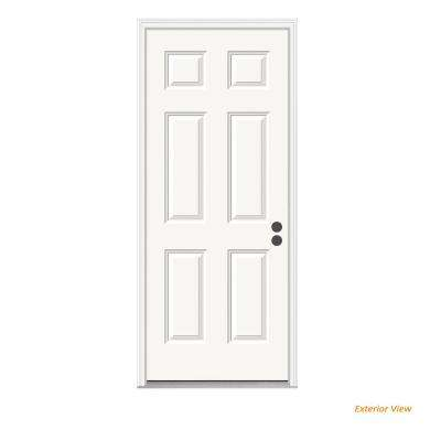 36 in. x 80 in. 6-Panel Primed 20 Minute Fire Rated Steel Prehung Left-Hand Inswing Front Door w/Brickmould