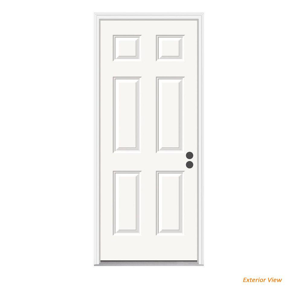 36 in. x 80 in. 6-Panel Primed 20 Minute Fire Rated Steel Prehung Left-Hand Inswing Front Door w/Brickmould