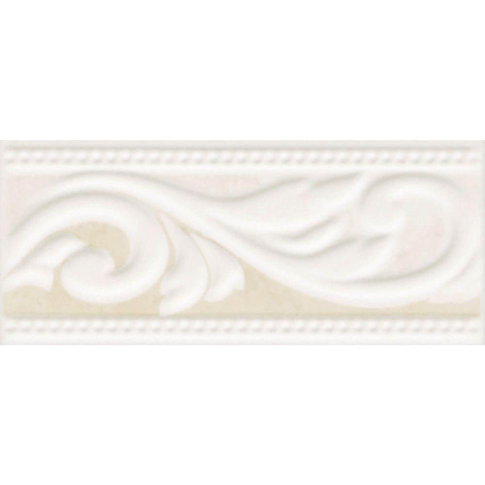 Illusione 3 in. x 8 in. Beige Ceramic Listello Wall Tile