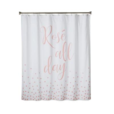 Rose All Day 72 in. Pink Shower Curtain