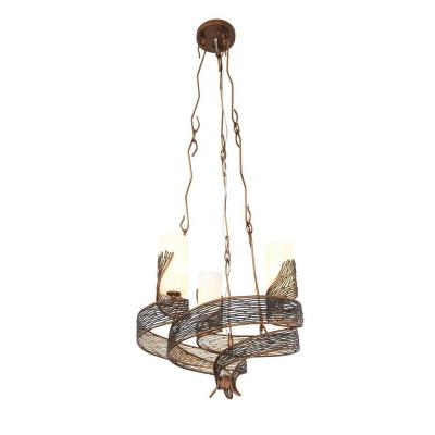 Flow 3-Light Hammered Ore Chandelier with Gloss Opal Glass
