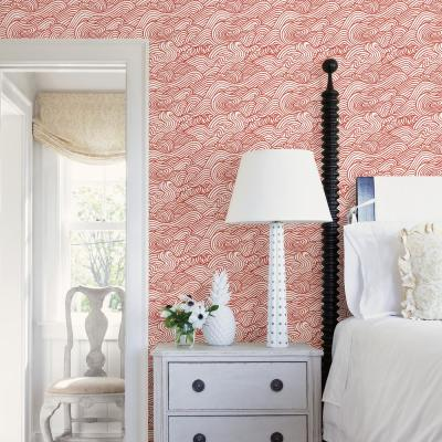 56.4 sq. ft. Mare Red Wave Wallpaper
