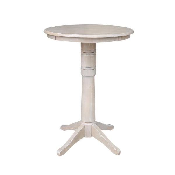 Olivia 30 in. Round Weathered Taupe Gray Solid Wood Bar Table