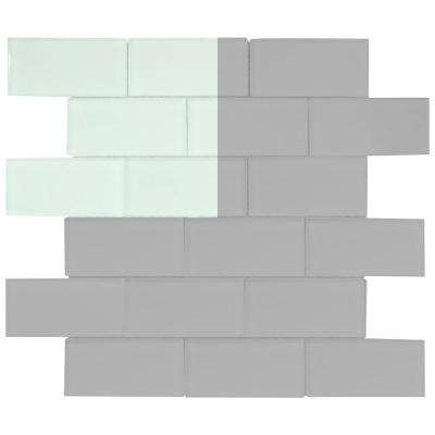 Morning Mist 3 in. x 6 in. Glass Wall Tile Sample