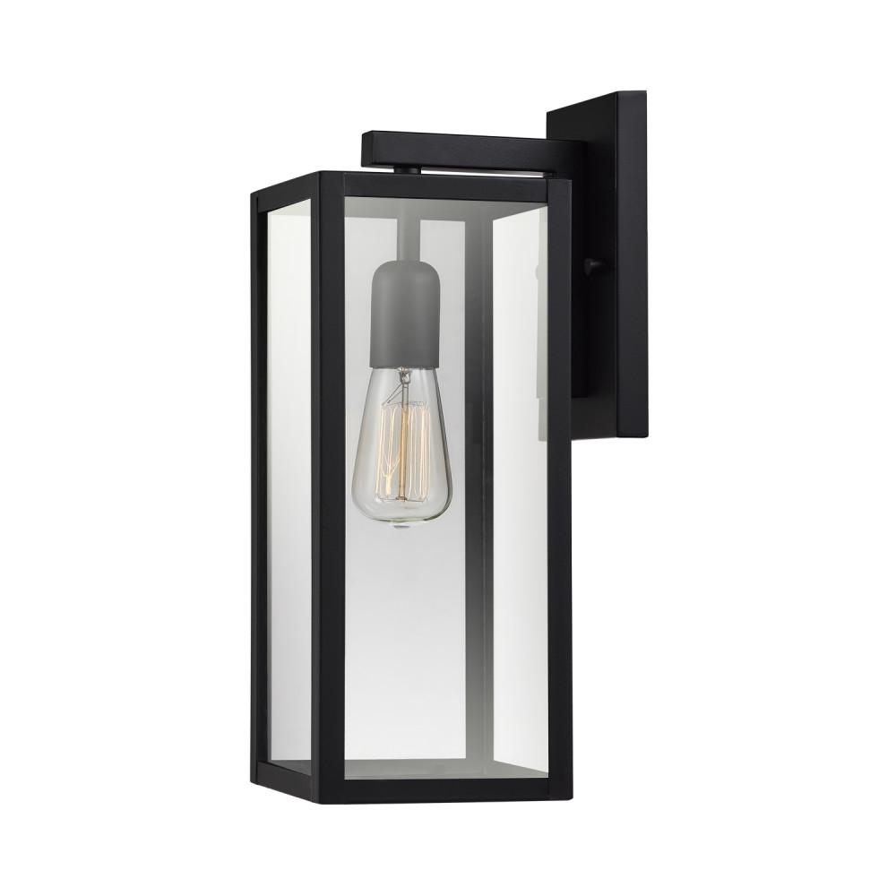 Globe electric hurley 1 light matte black outdoor wall mount sconce