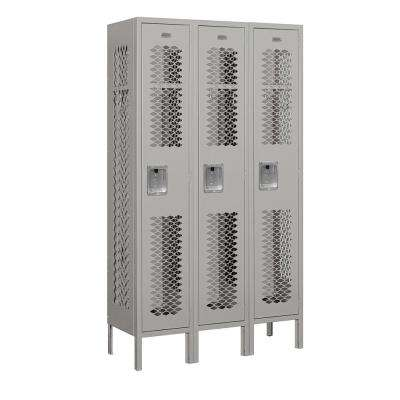 71000 Series 3 Compartments Single Tier 36 In. W x 66 In. H x 12 In. D Vented Metal Locker Assembled in Gray