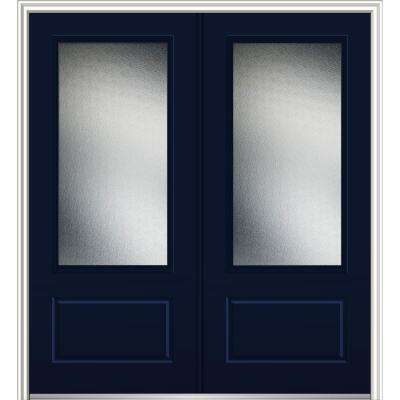 72 in. x 80 in. Micro Granite Left-Hand Inswing 3/4-Lite Decorative 1-Panel Painted Fiberglass Smooth Prehung Front Door