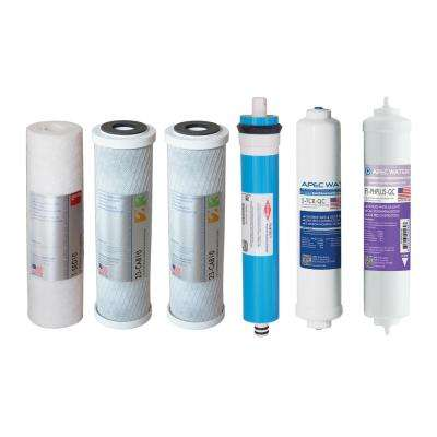 Ultimate Complete Replacement Filter Set for 90 GPD pH+ 6-Stage RO Systems (Stages 1 to 6)