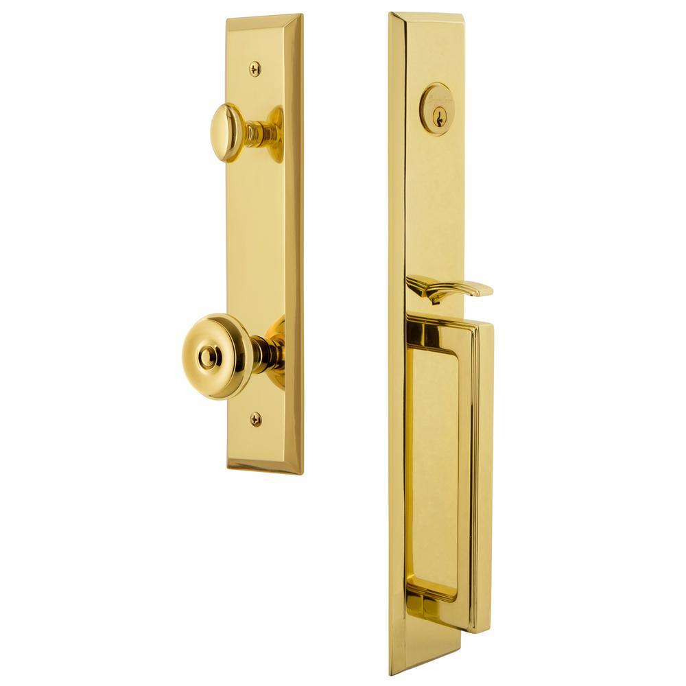 Fifth Avenue Lifetime Brass 1-Piece Dummy Door Handleset with D-Grip and Bouton Knob