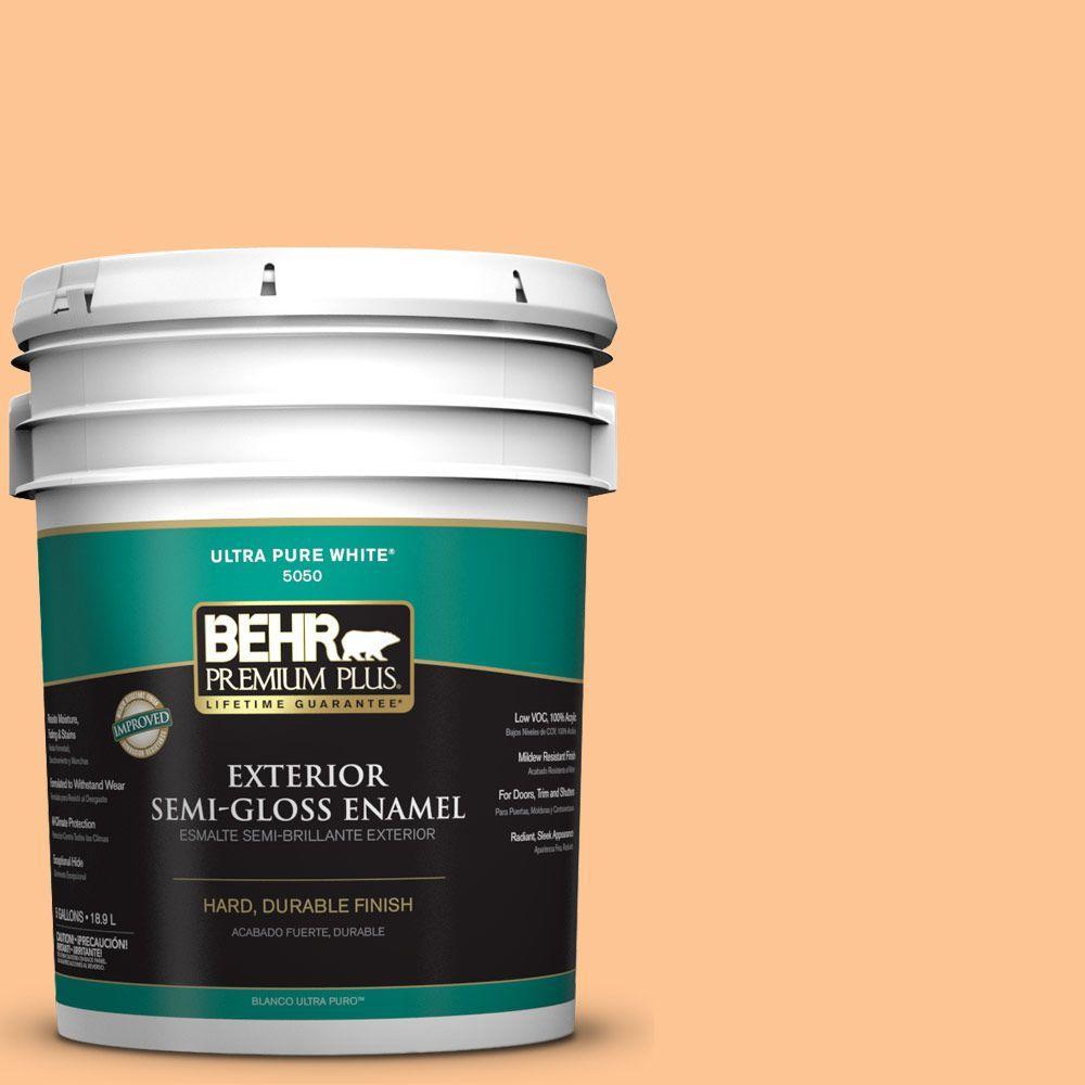 BEHR Premium Plus 5-gal. #P220-4 Dainty Apricot Semi-Gloss Enamel Exterior Paint