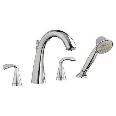 Fluent 2-Handle Deck-Mount Roman Tub Faucet for Flash Rough-in Valves in Polished Chrome
