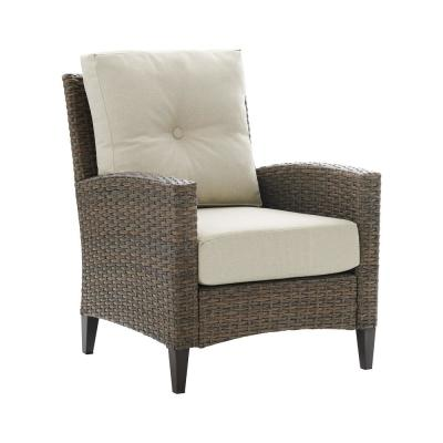 Rockport Wicker High Back Outdoor Lounge Chair with Oatmeal Cushions