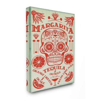 """30 in. x 40 in. """"Margarita Tequila Sugar Skull with Agave Orange and Lime"""" by Fig & Melon Press Canvas Wall Art"""
