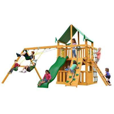Chateau Clubhouse with Amber Posts and Deluxe Green Vinyl Canopy Cedar Playset