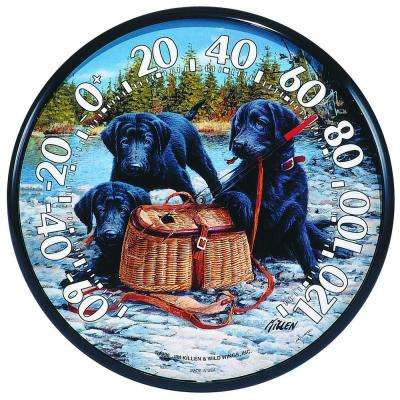12.5 in. Lab Puppies with Basket Analog Thermometer