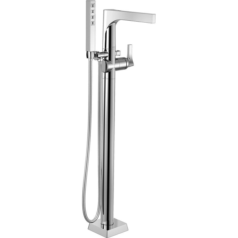 Delta Zura 1-Handle Floor-Mount Tub Filler Trim Kit with Hand Shower in Chrome (Grey) (Valve Not Included)