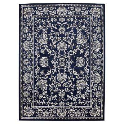 Jasmin Collection Oriental Mahal Navy and Ivory 7 ft. 10 in. x 9 ft. 10 in. Area Rug