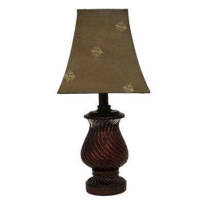 Swirl 18.75 in. Red Table Lamp with Faux Silk Shade