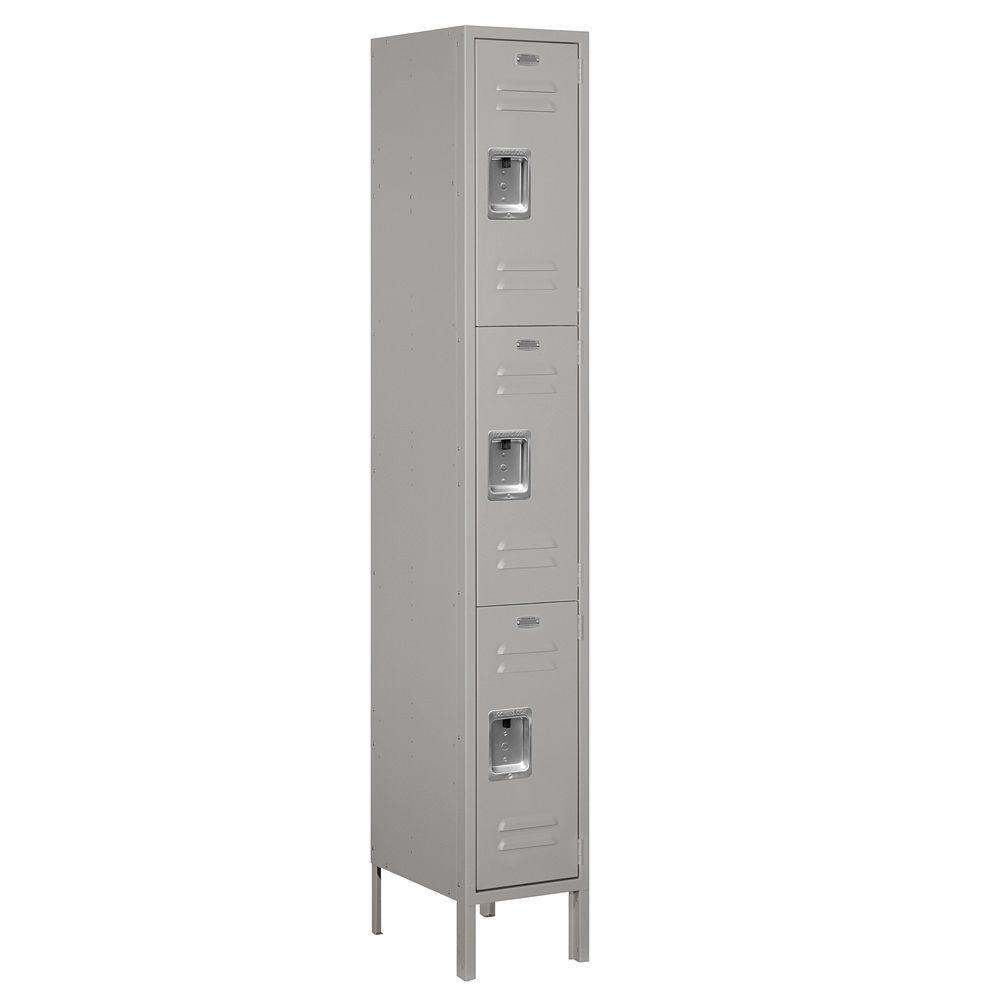 Salsbury Industries 63000 Series 12 in. W x 78 in. H x 15 in. D - Triple Tier Metal Locker Unassembled in Gray